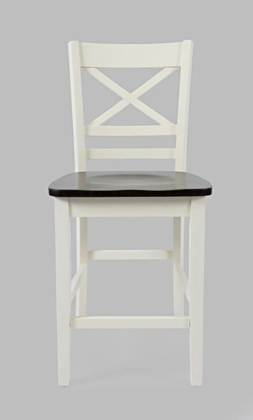 2 Jofran Furniture Asbury Park Brown White Cross Back Stools JFN-1806-BS395KD