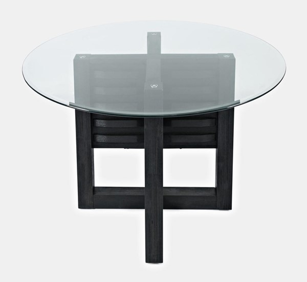 Jofran Furniture Altamonte Dark Charcoal Glass Top Round Dining Table JFN-1851-48BG48RD