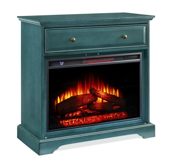 Jofran Furniture EZ Style Antique Blue 32 Inch Window Pane TV Stand with Electric Fireplace JFN-1901EZ-32AB26KT
