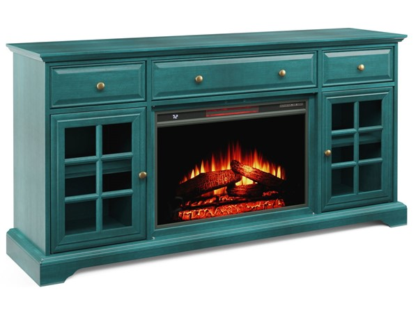 Jofran Furniture EZ Style Antique Blue 60 Inch Window Pane TV Stand with Electric Fireplace JFN-1901EZ-60AB26KT