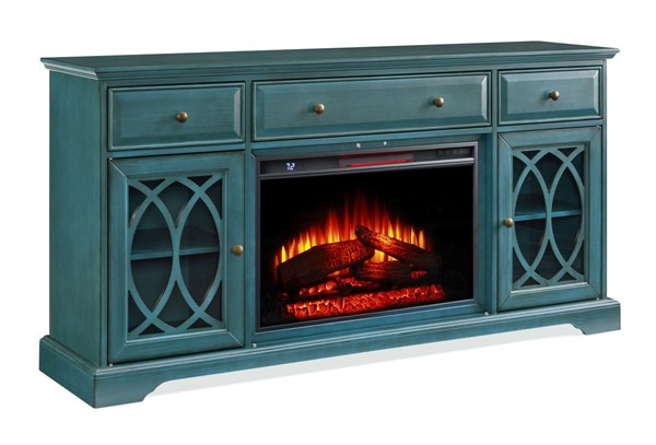 Jofran Furniture EZ Style Antique Blue 60 Inch Segmented TV Stand with Electric Fireplace JFN-1902EZ-60AB26KT