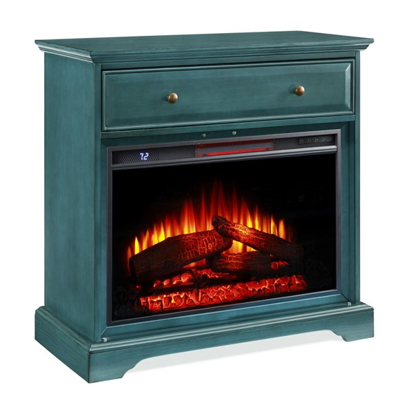 Jofran Furniture EZ Style Antique Blue 32 Inch Gothic Arch TV Stand with Electric Fireplace JFN-1903EZ-32AB26KT