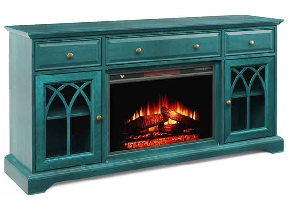 Jofran Furniture EZ Style Antique Blue 60 Inch Gothic Arch TV Stand with Electric Fireplace JFN-1903EZ-60AB26KT