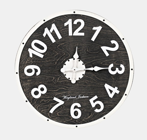 Jofran Furniture Wayland Jackson Distressed Black White Solid Wood Wall 30 Inch Clock JFN-1904EZ-30-001