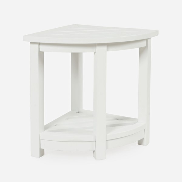 Jofran Furniture EZ Style White Solid Acacia Indoor Outdoor Corner Accent Table JFN-1926EZ-02