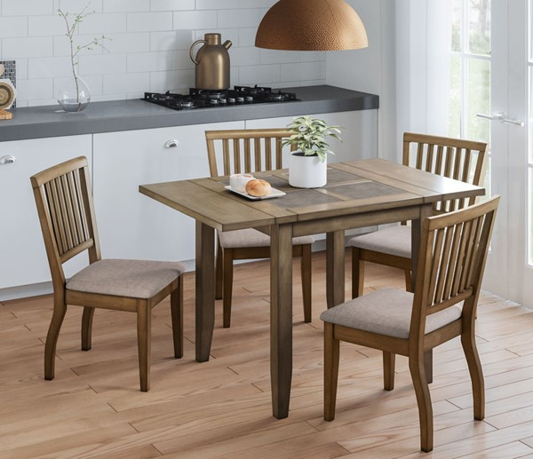 Jofran Furniture Prescott Park Taupe Weathered Oak 5pc 48 Inch Dining Room Set JFN-1936-DR-S5