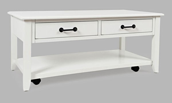 Jofran Furniture North Fork White Acacia 2 Drawer Coffee Table with Casters JFN-1976-1