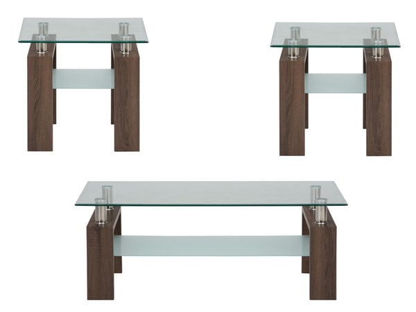 Compass Contemporary Wood Glass 3pc Coffee Table Set JFN-198-1-OCT-S