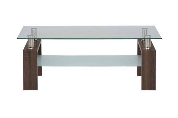 Compass Contemporary Wood Glass Cocktail Table JFN-198-1-CT