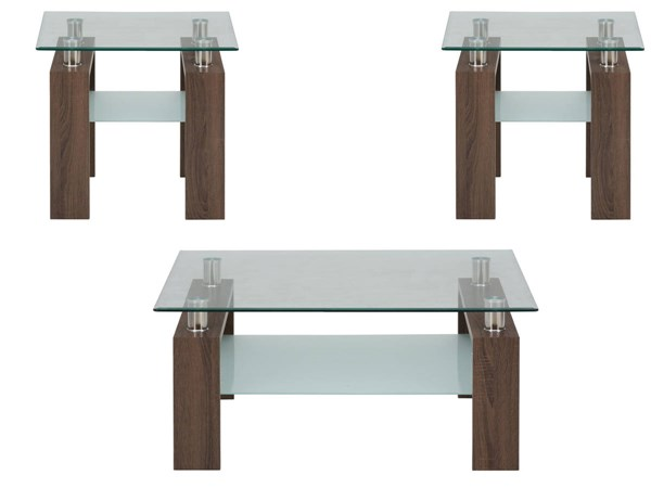 Compass Contemporary Oak Wood Glass Square 3pc Coffee Table Set JFN-198-1-OCT-S2