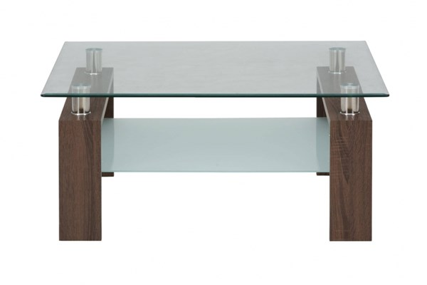 Compass Contemporary Oak Tempered Glass Square Cocktail Table JFN-198-2