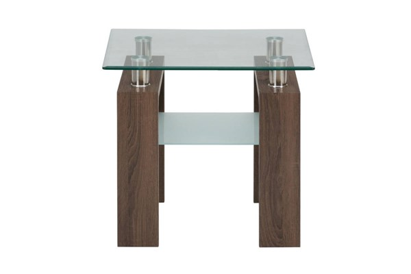 Compass Contemporary Wood Glass End Table Top JFN-198-3G