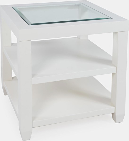 Jofran Furniture Urban Icon White Glass Inlay Storage End Tables JFN-200-3-ET-V