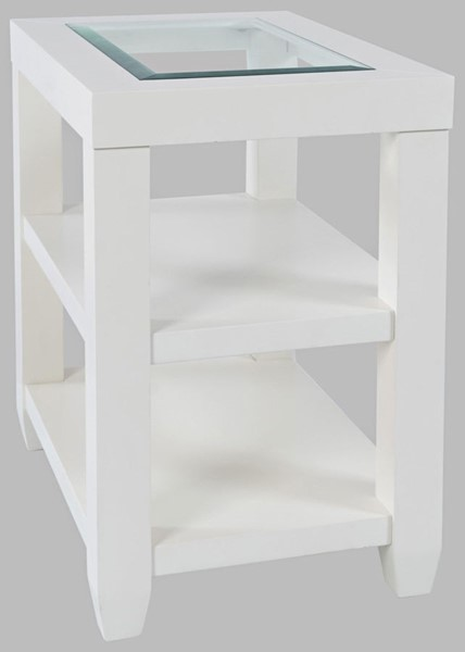 Jofran Furniture Urban Icon White Glass Inlay Storage Chair Side End Table JFN-2000-7
