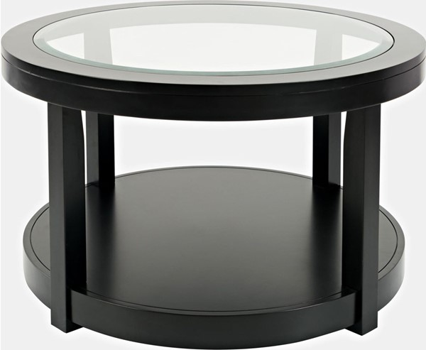 Jofran Furniture Urban Icon Black Round Glass Inlay Coffee Table JFN-2001-2