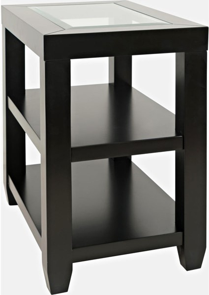 Jofran Furniture Urban Icon Black Glass Inlay Storage Chair Side End Table JFN-2001-7