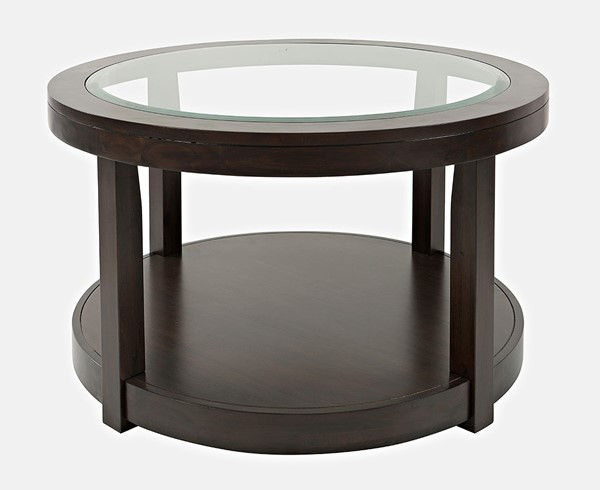 Jofran Furniture Urban Icon Merlot Round Glass Inlay Coffee Table JFN-2002-2