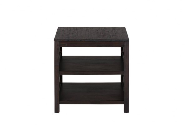 Rich Roast Casual Wood Slatted Two Shelves End Table JFN-214-3