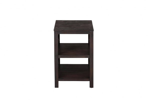 Rich Roast Casual Wood Slatted Two Shelves Chairside Table JFN-214-7