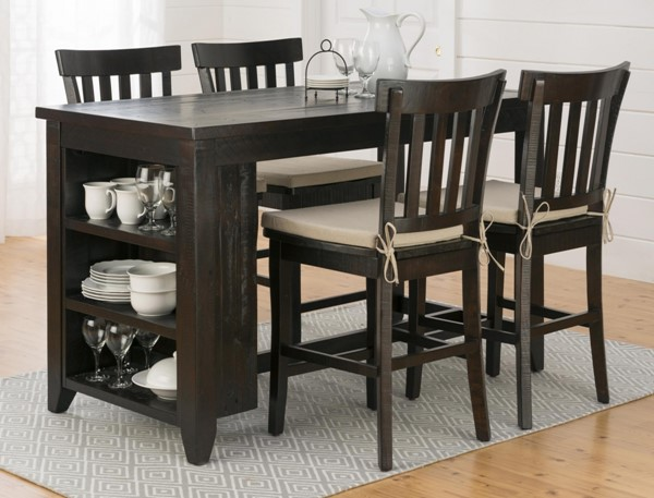 Prospect Creek Casual Wood Reclaimed Pine 5pc Counter Height Bar Set JFN-257-60-DR-S1