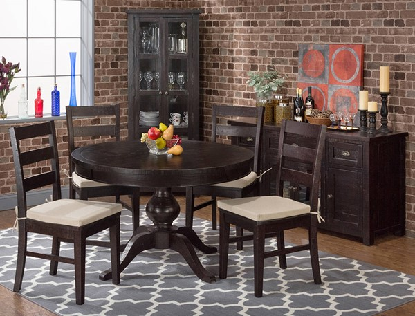 Brown Wood Round Solid Top Dining Room Set JFN-257-66-538KD-DR
