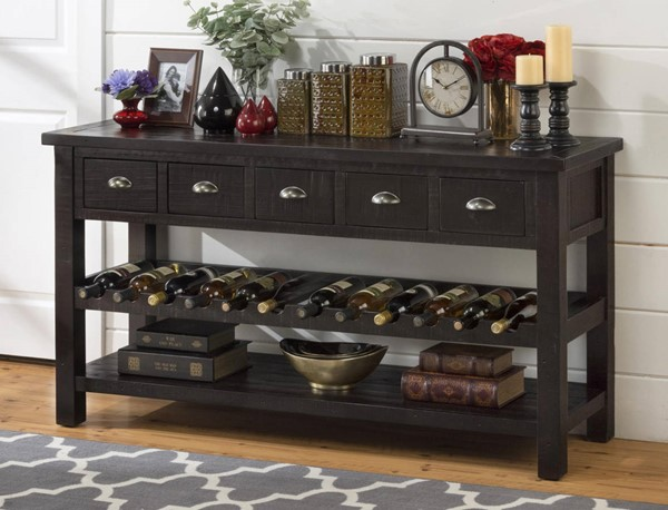 Prospect Creek Cottage Brown Wood 60 Inches 5 Drawers Wine Rack/Server JFN-257-89