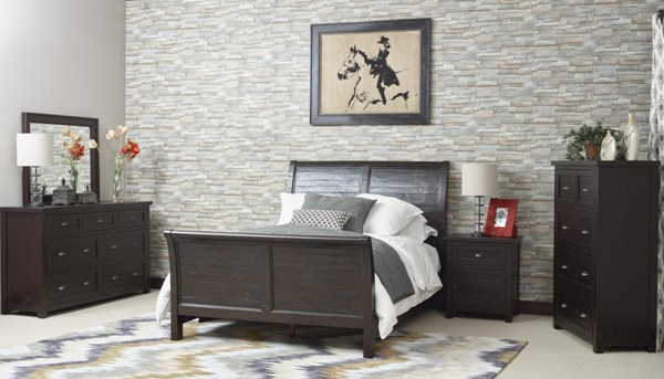 Casual Wood Glass Brown Master Bedroom Set JFN-259-BR