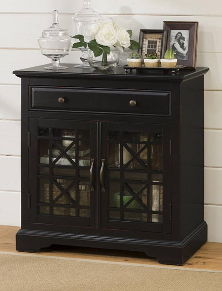 Craftsman Black Wood Glass Door & Drawer 32 Inches Accent Cabinet JFN-275-32