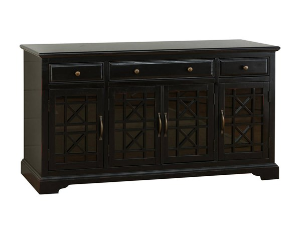 Craftsman Black Wood Glass Doors & Drawers 60 Inches Media Console JFN-275-60