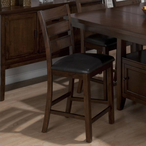 Taylor Contemporary Cherry Brown Faux Leather Counter Height Stool JFN-337-BS923KD