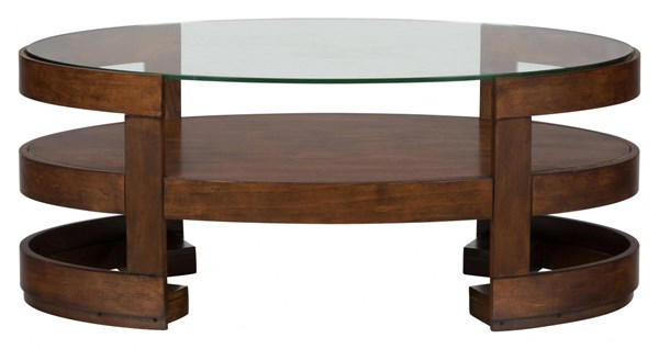 Avon Contemporary Birch Wood Glass Oval Cocktail Table JFN-348-1
