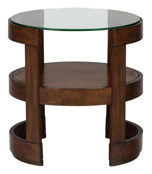 Avon Contemporary Round End Table w/Tempered Glass Top & Shelf JFN-348-3