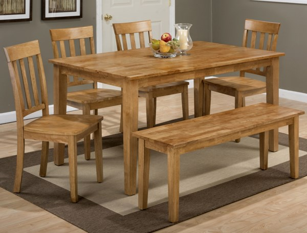 Simplicity Casual Honey Wood Rectangle 6pc Dining Room Set JFN-352-60-319-14KD-DR-S