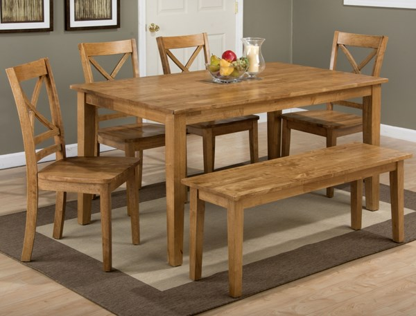 Simplicity Casual Honey Wood 6pc Dining Room Set JFN-352-60-806KD-14KD-DR-S
