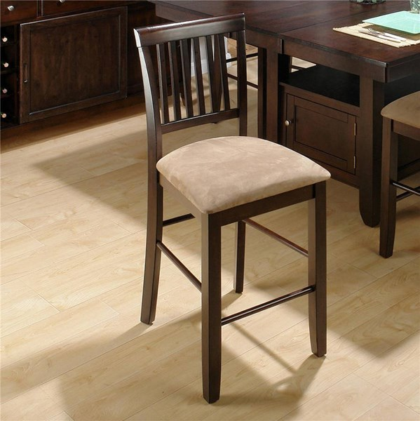 2 Baker Cherry Casual Wood Fabric Counter Height Stools JFN-373-BS711KD