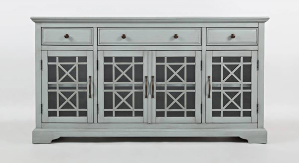Craftsman Casual Early Grey Wood 4 Glass Doors 60 Inches Media Console JFN-375-60