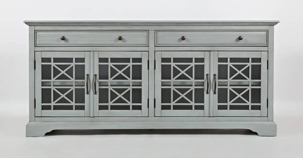 Craftsman Casual Early Grey Wood 4 Glass Doors 70 Inches Media Console JFN-375-9