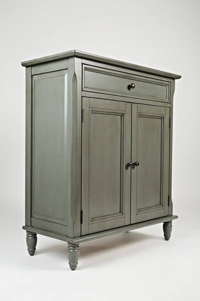 Avignon Grey Wood Turned Legs Drawer & Two Doors Accent Cabinet JFN-39033A