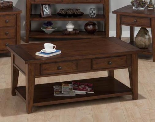 Clay County Casual Oak Wood Cocktail Table w/4 Drawers JFN-443-1