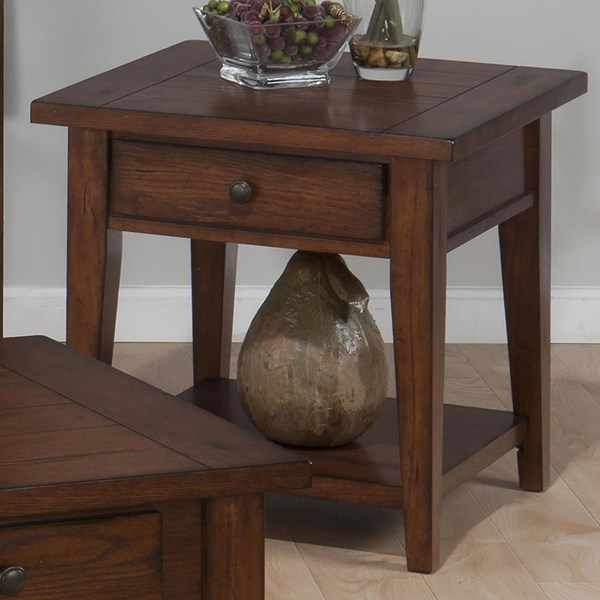 Clay County Casual Oak Wood Square End Table w/Drawers JFN-443-3