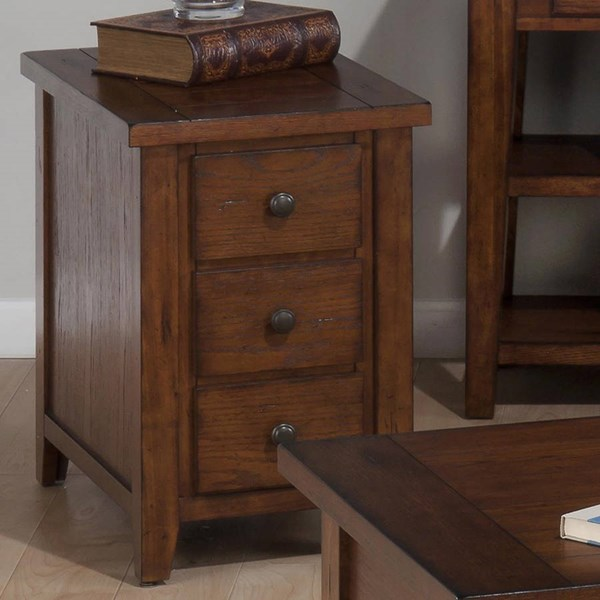Clay County Casual Oak Wood Chairside Table w/3 Drawers JFN-443-7