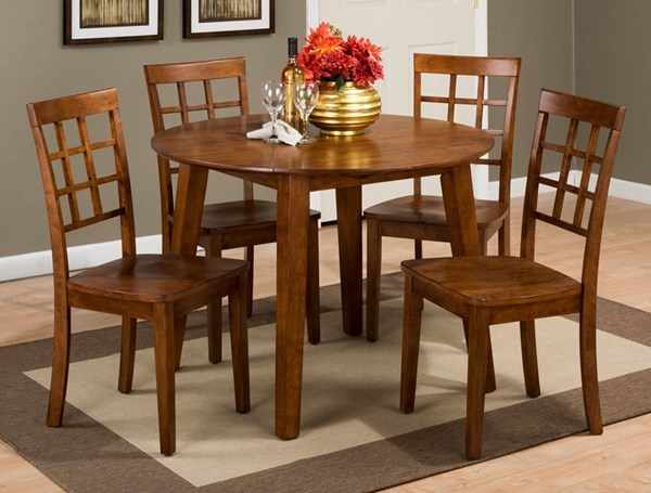 Caramel Wood Round Drop Leaf 5pc Dining Room Set JFN-452-28-939KD-DR-S