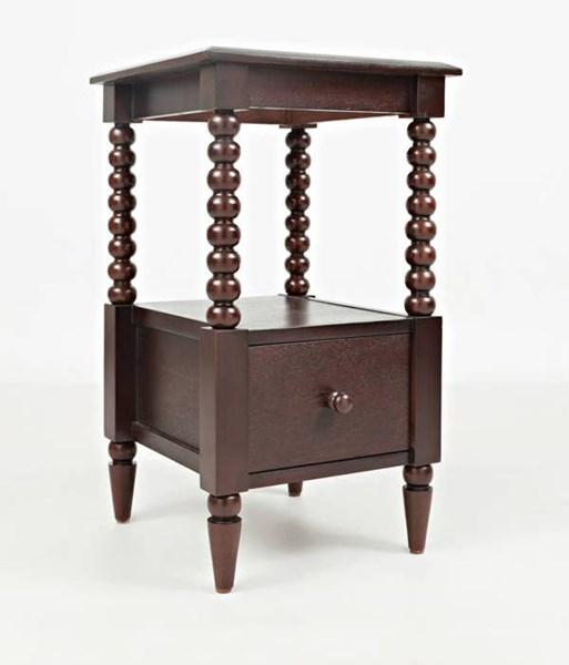 Chantilly Standard Merlot Spindle Accent Table JFN-4600