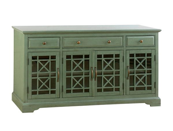 Craftsman Casual Antique Wood 4 Glass Doors 60 Inches Media Console JFN-475-60