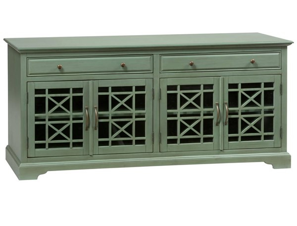 Craftsman Casual Antique Wood 4 Glass Doors 70 Inches Media Console JFN-475-9