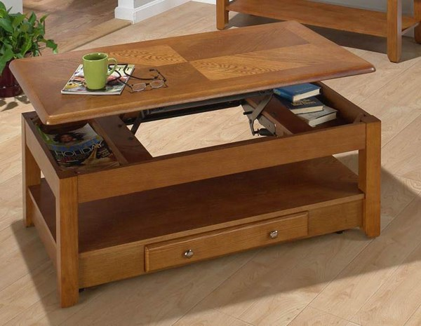Sedona Casual Oak Wood Lift Top Cocktail Table w/Casters JFN-480-1