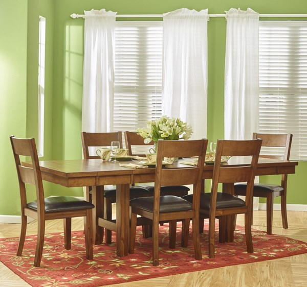 Plantation Casual Oak Wood Faux Leather 7pc Dining Room Set JFN-505-93-219KD-DR-S