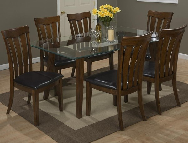 Plantation Casual Wood Glass 7pc Rectangle Dining Room Set JFN-505-72-423KD