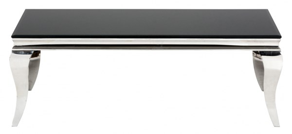 Tuxedo Contemporary Black Stainless Steel Cocktail Table w/Glass Top JFN-531-1