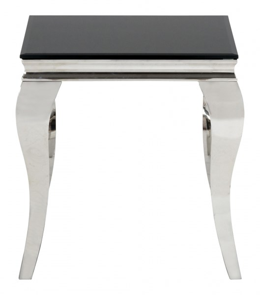 Tuxedo Contemporary Black Stainless Steel End Table w/Glass Top JFN-531-3